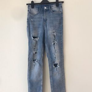 H&M high waisted distressed jeans